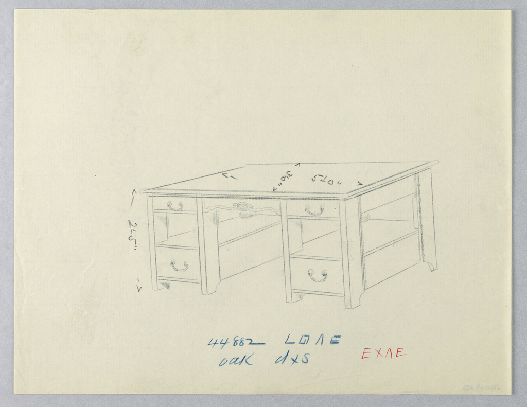 Drawing, Design for Massive Library Table with Open Shelves at Sides