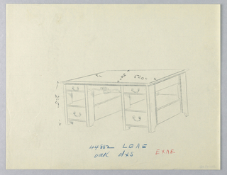 Drawing, Design for Massive Library Table with Open Shelves at Sides, 1900–05