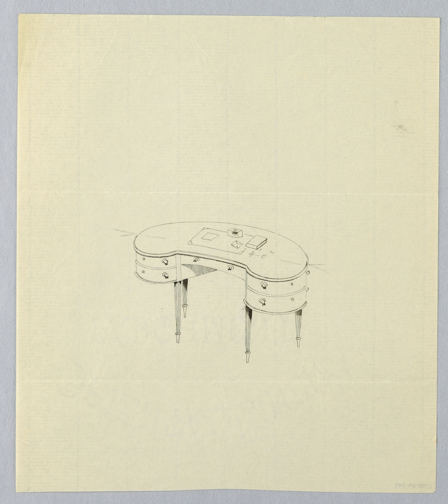 Drawing, Design for Kidney-Shaped Writing Table with Blotter and Book Atop