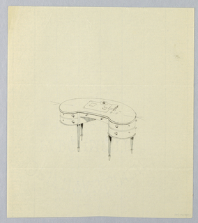 Drawing, Design for Kidney-Shaped Writing Table with Blotter and Book Atop, 1900–05