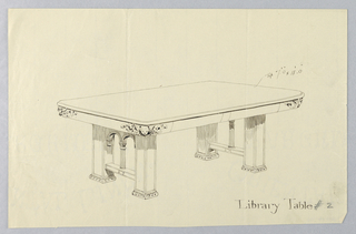 Drawing, Design for Recangular Library Table #2 with Putti Faces Carved on Each of Rounded Corners
