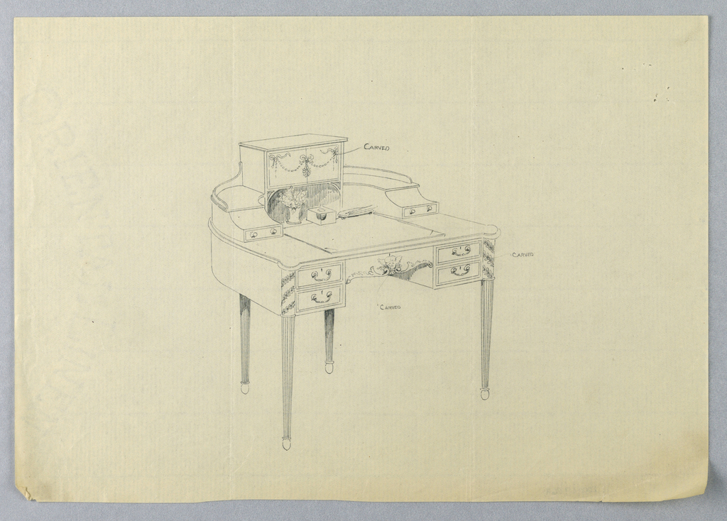 Drawing, Design for Ornate, Three-Tiered, Semi-Circular Writing Table