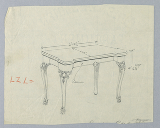 Drawing, Design for Rectangular Card Table with Drawer