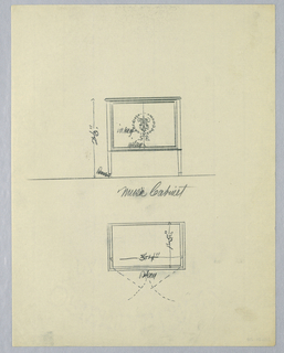 Elevation (upper half of sheet): rectangular 2-door panel at front with inlaid laurel wreath  center; raised on straight slightly tapering feet.  Plan (below center): rectangular top of cabinet.