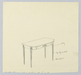 Drawing, Design for Rectangular Card Table with Inlay and Brass Feet