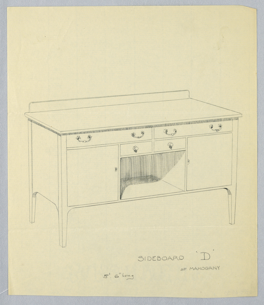 """Drawing, Design for Sideboard """"D"""" of Mahogany"""