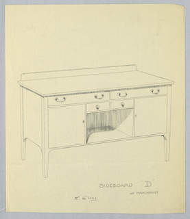 Rectangular sideboard on four short tapering legs; tri-partite front had niche center topped by two small drawers and flanked by two cupboard drawers on either side; low backsplash.