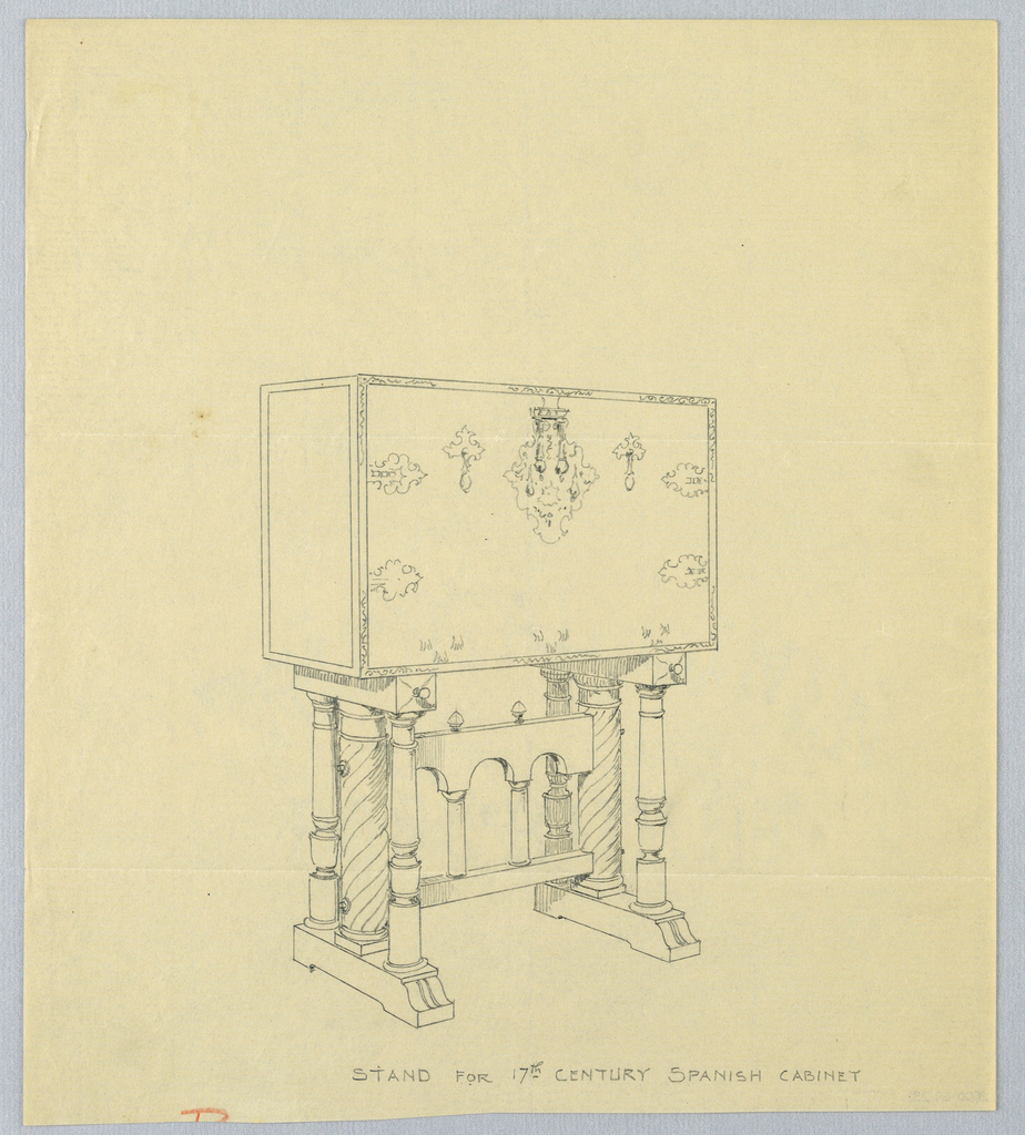 Rectangular body with front panel with elaborate metalwork center: 2 hinge-plates and 2 cross-shaped handles flank keyhole escutcheon; body raised on either side by cluster of supports each consisting of twisted column flanked by pair of turned columns; cluster supports surmounted by rectangular slab resting on bracket-like platform joined by horizontal stretcher having 3 cut-outs and supported by 2 columns center surmounted by pair of bud-like finials.