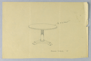 Round thin molded table top raised on plain slender columnar supports with molded double band around bottom, sitting atop molded triangular base terminating in 3 [2 shown] bracket feet on casters.