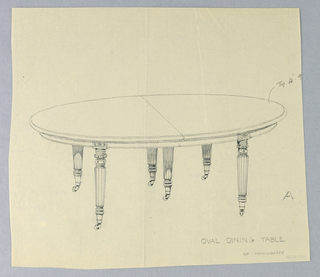 Oval molded top with dividing stretcher running across center, raised on 6 carved, turned and fluted tapering legs on casters; smll rectangular carved inlaid plaques on table top.