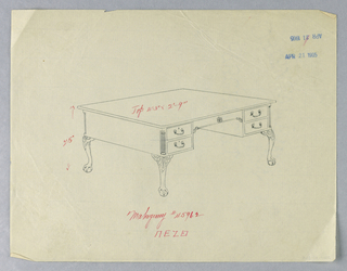 Drawing, Design for Library Table with Scrolled Lions-Paw Feet, Dated April 21, 1905, 1900–05