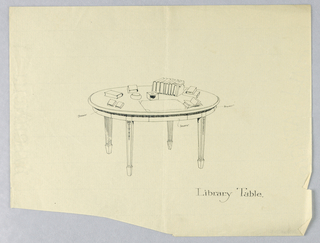 Drawing, Design for Round Library Table with Three Hidden Drawers, 1900–05