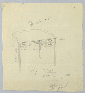 Drawing, Design for Semi-Circular Writing Table, Dated October 13, 1905, October 13, 1905