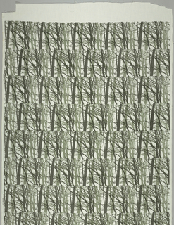 Horizontal stripes of tree silhouettes printed in two shades of green on white.  Alternating stripes are partially offset about 1/4 of the horizontal repeat.