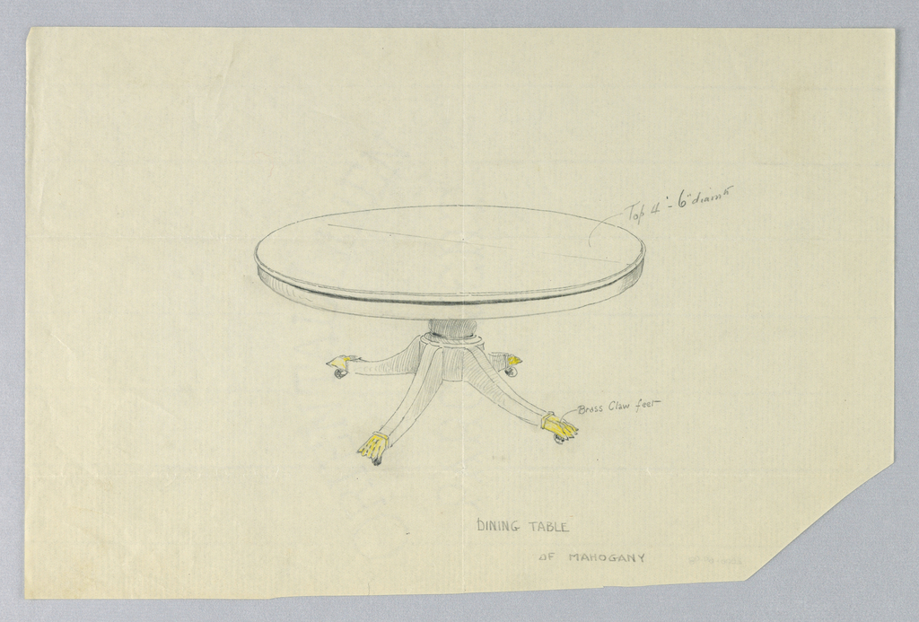 Round table top raised on short cylindrical support sitting on round base on four splayed legs terminating in brass animal-paw feet on casters indicated in yellow color pencil.