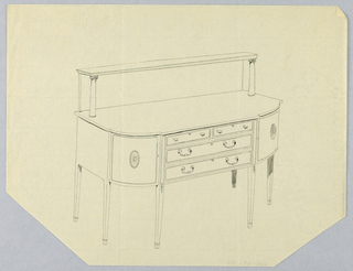 Sideboard with six straight tapering legs; rounded front corners with patera medallion decoration at center of each; flat front middle section: four drawers in three rows; upperwardly extended back and two short columns support upper shelf.