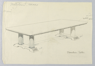 Drawing, Design for Director's Table with Horizontal Stretcher Suggested, 1900–05
