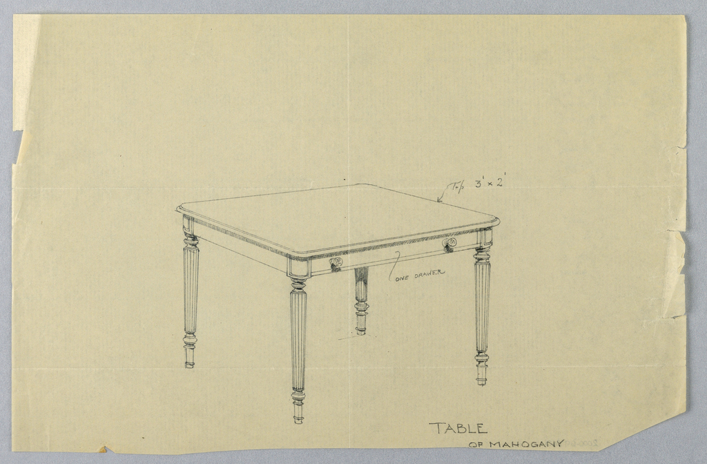Drawing, Design for Rectangular Writing Table with Rounded Corners