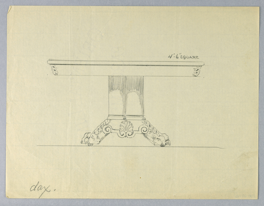Drawing, Design for Square Dining Table on Animal Paw Feet