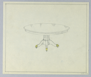 Round molded top raised on hexagonal base with molded double band at bottom terminating in 4 [3 shown] splayed legs with brass sabots on casters; double framing line in graphite.
