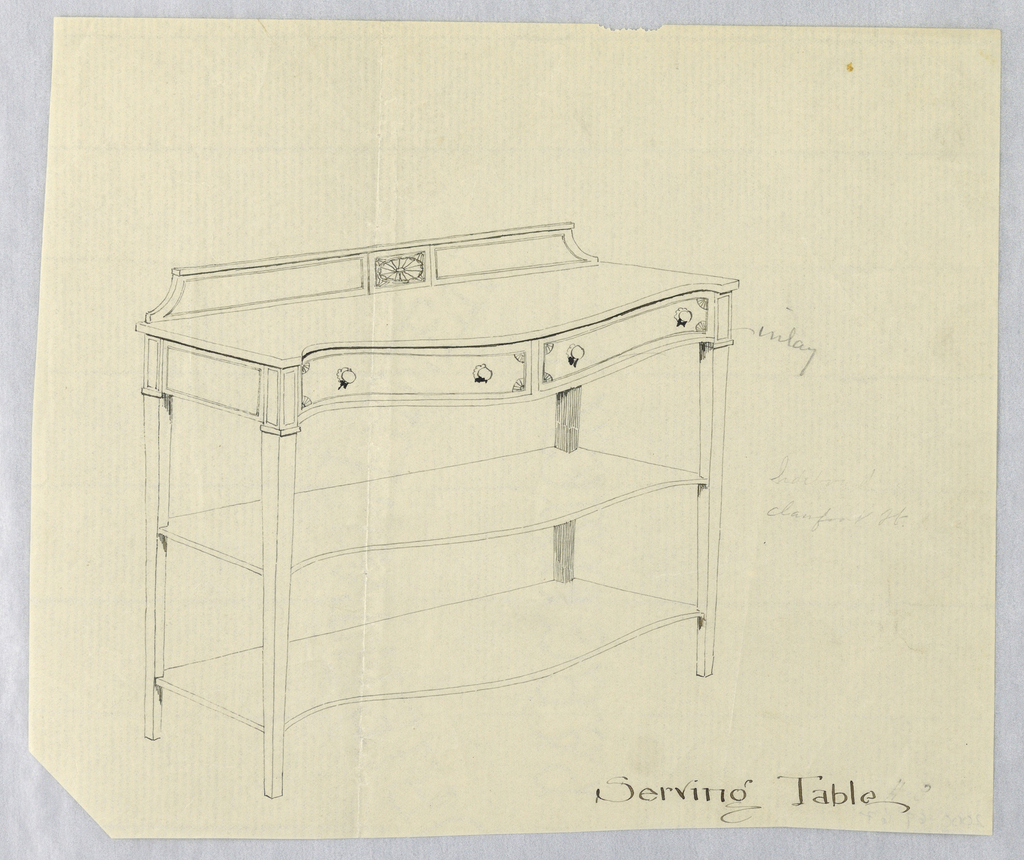 Oblong  top with convex front having 2 drawers and raised on 4 straight tapering legs; 2 conforming shelves attach below; low backsplash with horizontal patera medallion center.