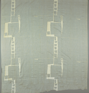 Widely spaced ladder maze, printed in opaque white on sheer cotton batiste.