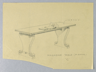 """Drawing, Design for Magazine Table """"C"""" of Gumwood, 1900–05"""
