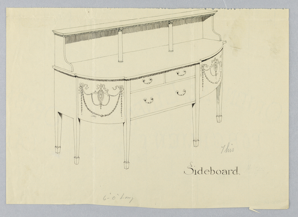 Oblong sideboard with 6 straight tapering legs; at front, 3 drawers arranged in 2 rows, flanked by rounded corners with inlaid neo-classical motifs: patera medallions suspended on tied ribbons and bell flower garlands; upper shelf supported by backsplash and 2 front columns with volutes.