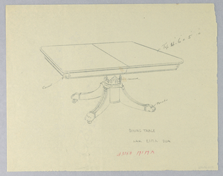 Drawing, Design for Dining Table with Reeded Splayed Legs, 1900–05
