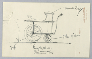 """Side view of serving table on wheels with 2 large and one small rectangular shelf; large spoked front wheels and small rear wheels; large """"S"""" shaped steering handle attached at back of lowest tray; vase [?] suggested on middle shelf shelf."""
