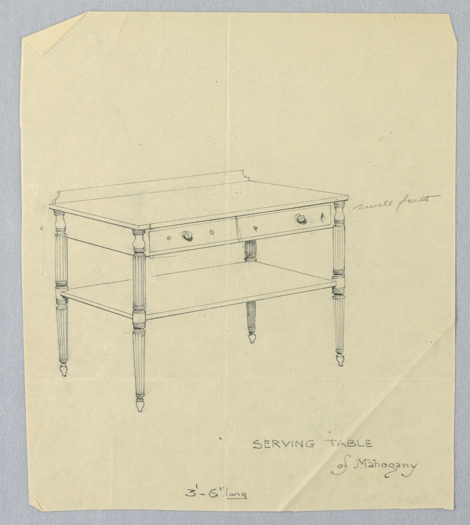 Drawing, Design for  Mahogany Serving Table on Fluted Legs