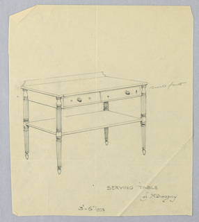 Rectangular top with two-drawer unit and backsplash resting on four straight, yet tapered, fluted legs terminating in pear-shaped feet.  Lower shelf attaches midway above floor level.