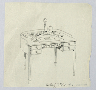 """Drawing, Design for Semi-Circular Writing Table #1, with Initial """"W"""" Carved on Center Drawer, 1900–05"""