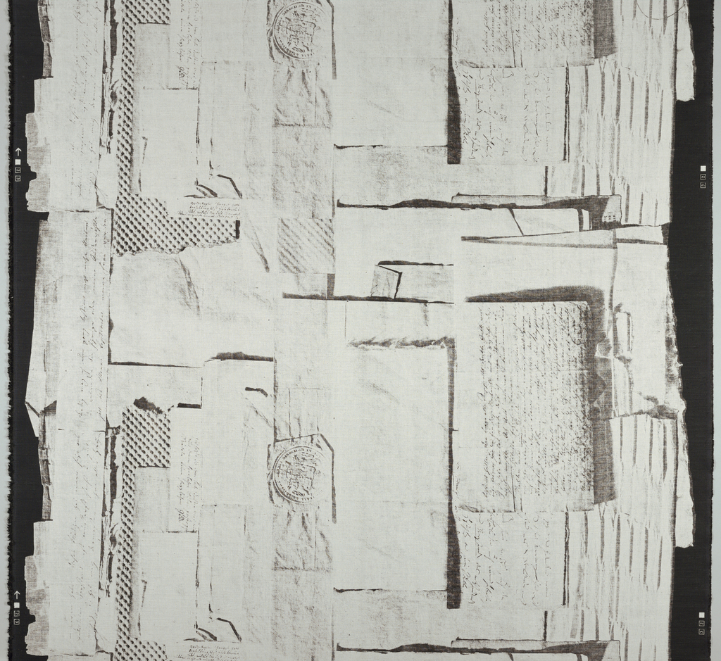 Random white sheets of paper, some with script and seals, on black ground.