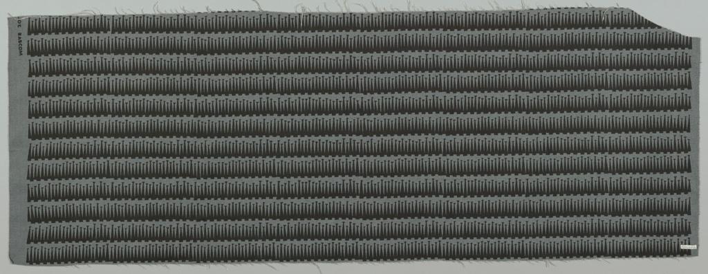 Close-set horizontal rows of slightly overlapping vase-forms; black on dark blue-gray linen.