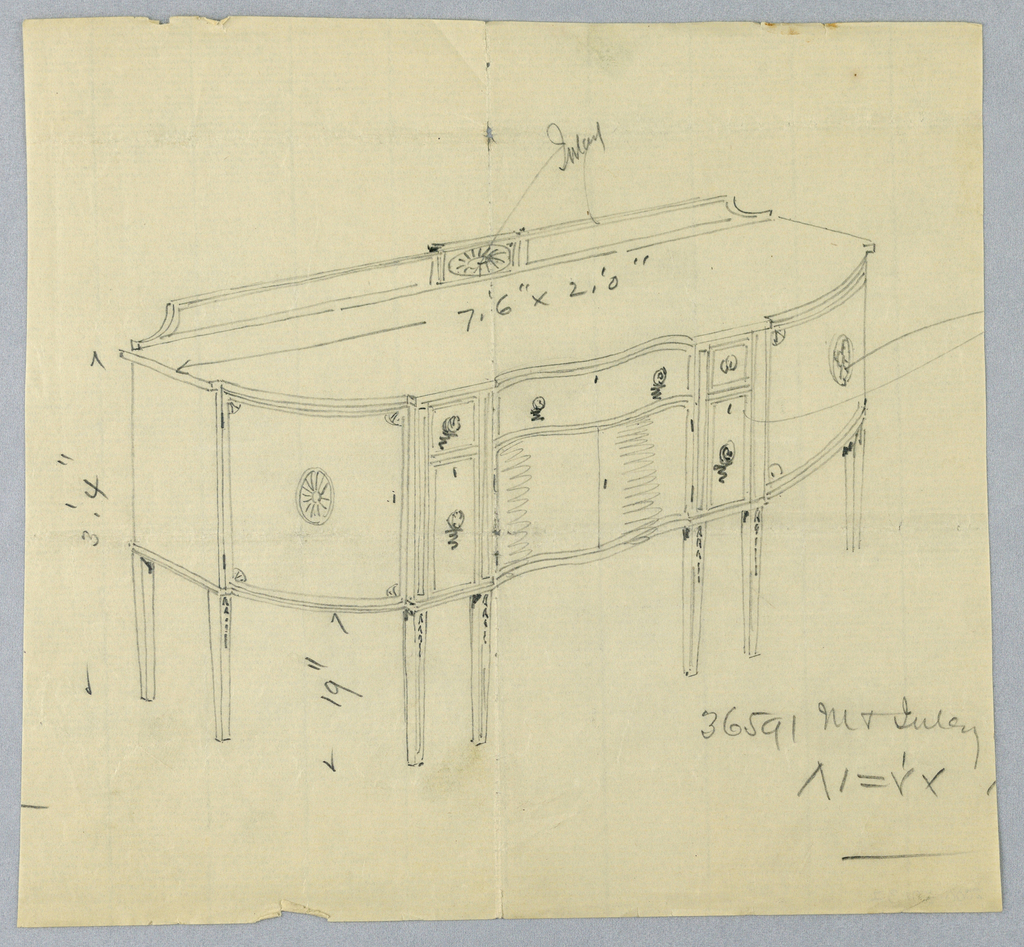 Drawing, Design for Oblong Sideboard with Eight Legs