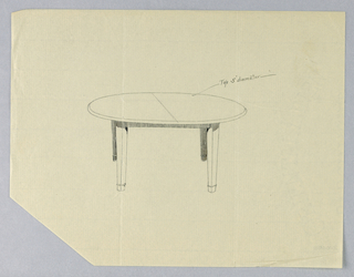 Round table top with a dividing stretcher running across center is raised on four plain straight slightly tapering legs.