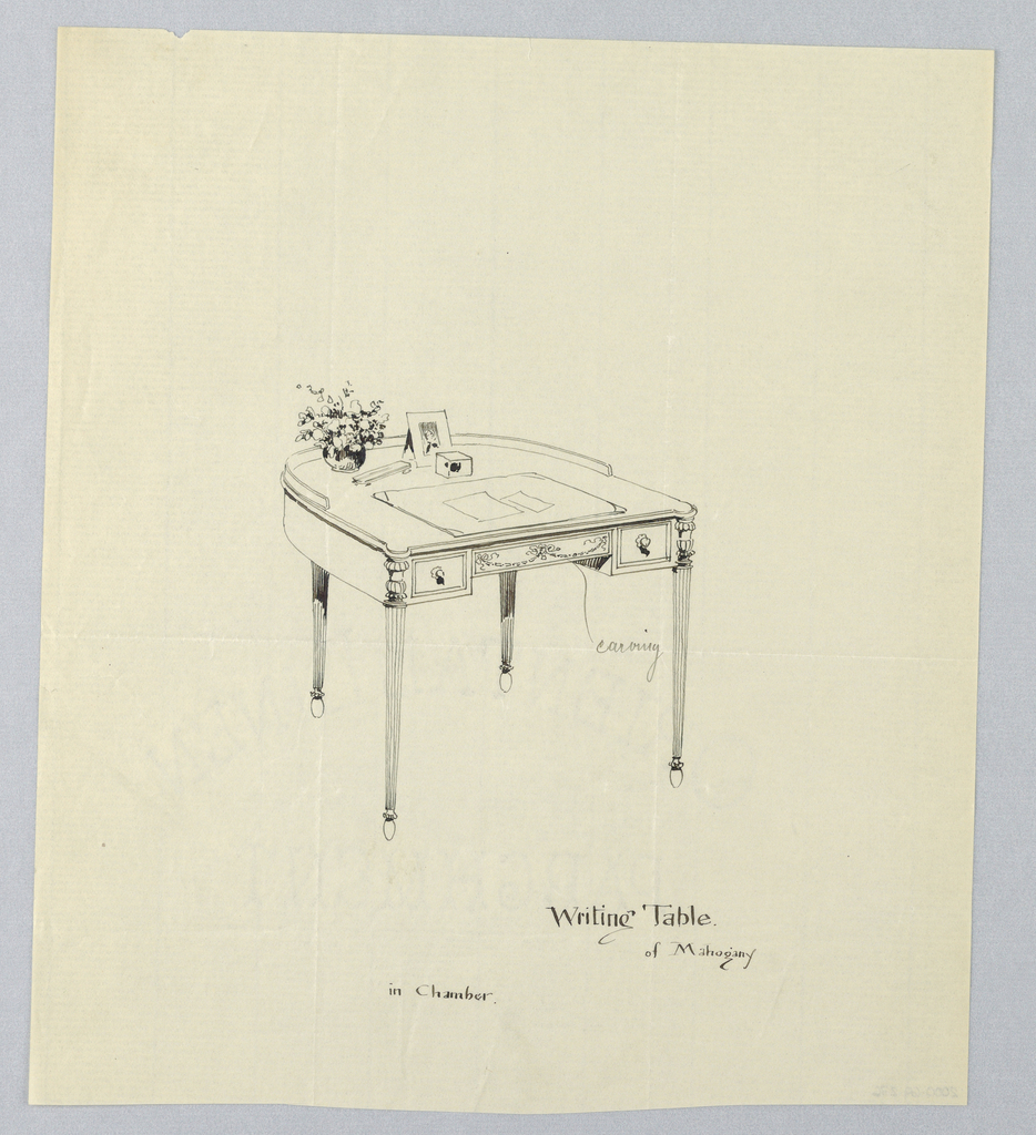 Drawing, Design for Semi-Circular Writing Table for a Chamber