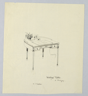 Drawing, Design for Semi-Circular Writing Table for a Chamber, 1900–05