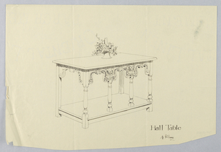 Drawing, Design for Hall Table with Border Carved in Putti Faces and Rosettes