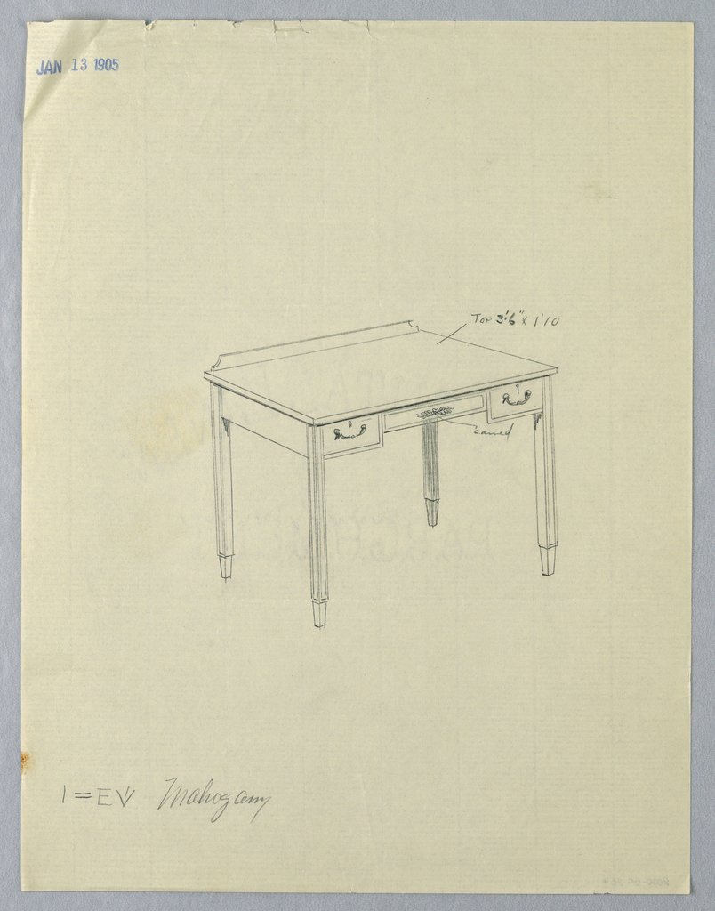 Drawing, Design for Writing Table with Carved Floral Decoration on Center Front Panel
