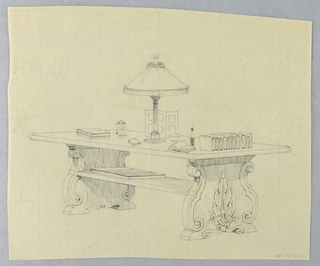 Drawing, Design for Rectangular Library Table with Solid Carved Sides and Picture Frames, Lamp, Books, etc. Atop, 1900–05
