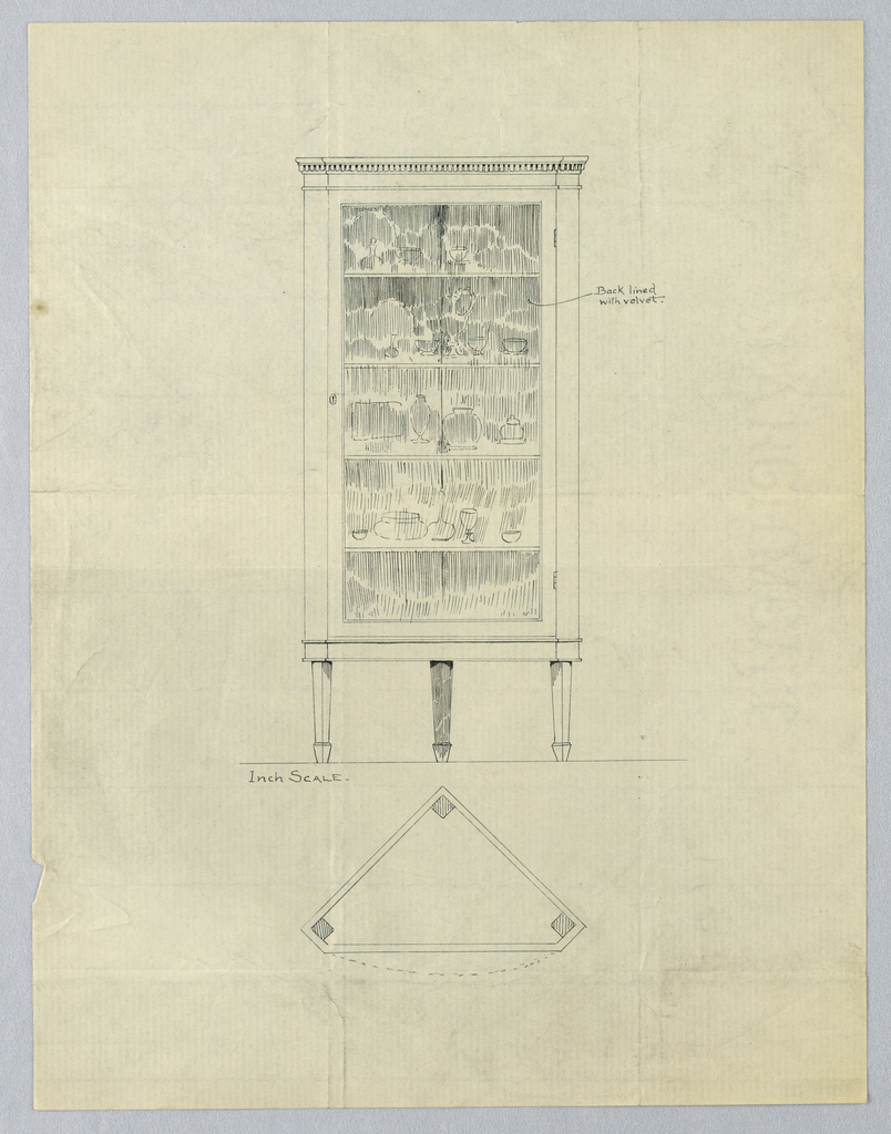 Elevation (upper segment of sheet): cabinet front with molded top and glass door panel; 4 inside shelves hold pieces of china; raised atop 3 tapering legs.  Plan (bottom segment of sheet): triangular silhouette of cabinet with canted corners.