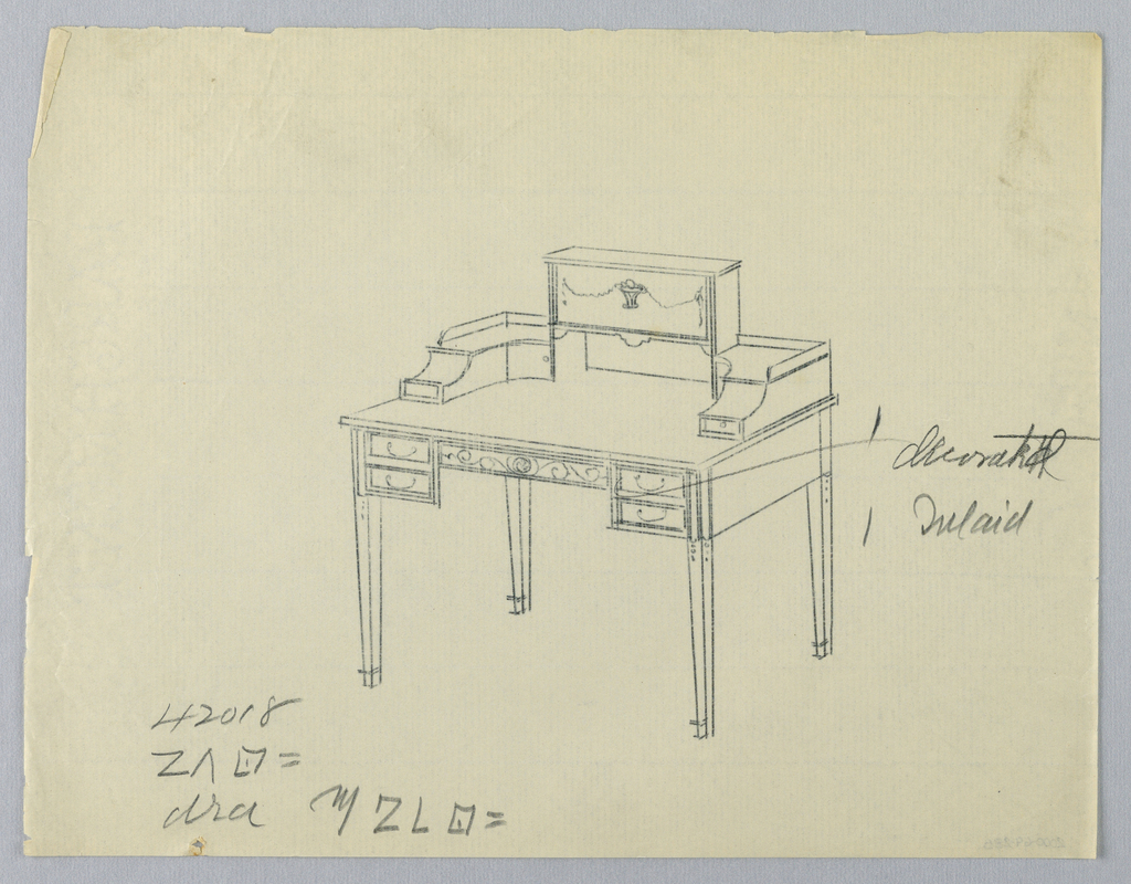 Drawing, Tracing of Design for Rectangular Writing Table with Decorated Inlay