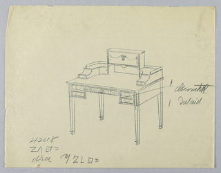 Drawing, Tracing of Design for Rectangular Writing Table with Decorated Inlay, 1900–05