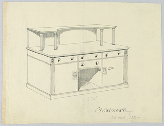 Massive rectangular sideboard with conforming platform at bottom; at bottom of central front section, a cut-out space topped by two horizontal drawers with round pulls; cut-out flanked by a single large cupboard with elaborate key plate on each; a small drawer atop each cupboard; shallow shelf raises above top back of sideboard on four fluted columns and has arched cut-out on front edge.