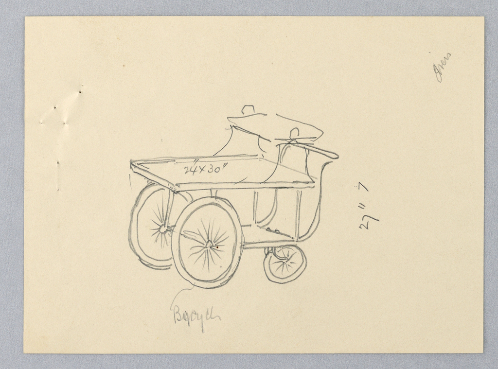 """Trolley-like serving table on wheels in three-quarter view; three stacked trays, the middle one smaller; handles attached to back of uppermost tray; bottom tray has pair of bicycle wheels attached at front and pair smaller wheels attached at back; long """"S""""-shaped steering handle attached to lowest tray and extends to just below top tray."""