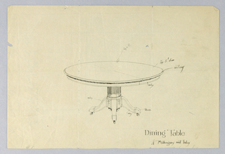 Round molded table top raised on faceted column-like support sitting on conforming base rounded at bottom with four splayed legs on casters (3 shown).