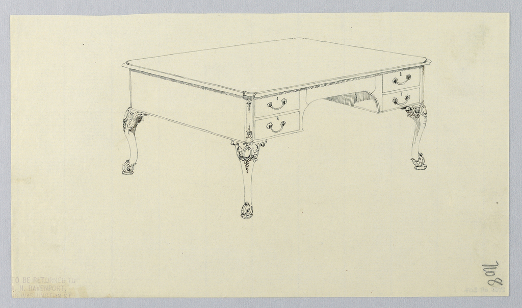 Drawing, Design for Rectangular Writing Table No. 8 with Four Drawers