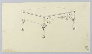 Drawing, Design for Rectangular Writing Table No. 8 with Four Drawers, 1900–05